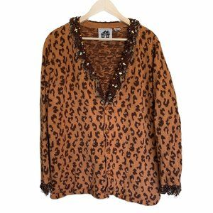 Storybook Knits Cardigan Sweater Brown Leopard 2X